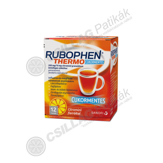 Rubophen Thermo cukormentes 500mg/10mg citromízű (12x)