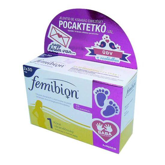 Femibion 1 +D3 filmtabletta DUO+pocaktetkó (2x30x)