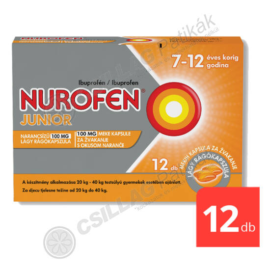 Nurofen Junior narancsízű 100 mg lágy rágókapszula (12x)
