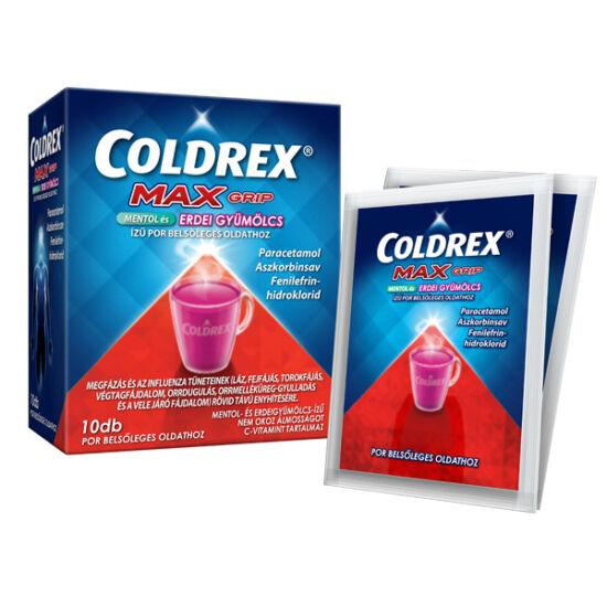 Coldrex MaxGrip mentol és erdei gyümölcs ízű por (10x)