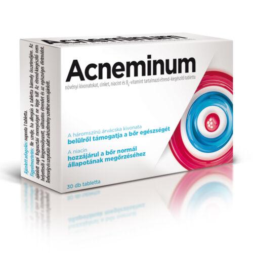 Acneminum növényi kivonatokat, cinket, niacint és B6-vitamint tartalmazó étrend-kiegészítő tabletta (30x)