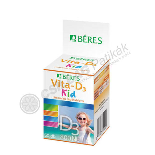 Béres Vita-D3 KID 800NE ÉTRENDKIEG. rágótabl. (50x)