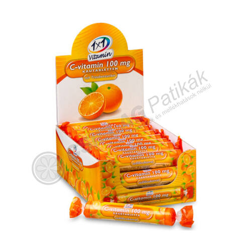 1X1 Vitaday C-vitamin 100mg narancsízű rágótabletta (17x)