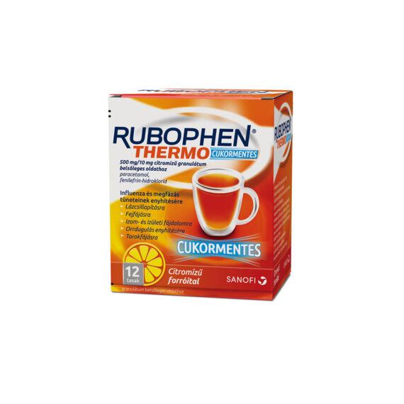 Rubophen Thermo cukormentes 500 mg/10 mg citromízű granulátum belsőleges oldathoz (12x)