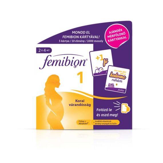 Femibion 1 Korai várandósság étrend-kiegészítő + 5 db Mérföldkő kártya 2x4 heti adag, 2x28 db tabletta
